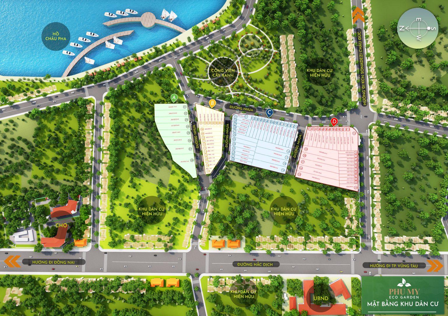 Mặt bằng Dự án đất nền khu dân cư sinh thái Phú Mỹ Eco Garden Châu Pha, Phú Mỹ, Bà Rịa - Vũng Tàu