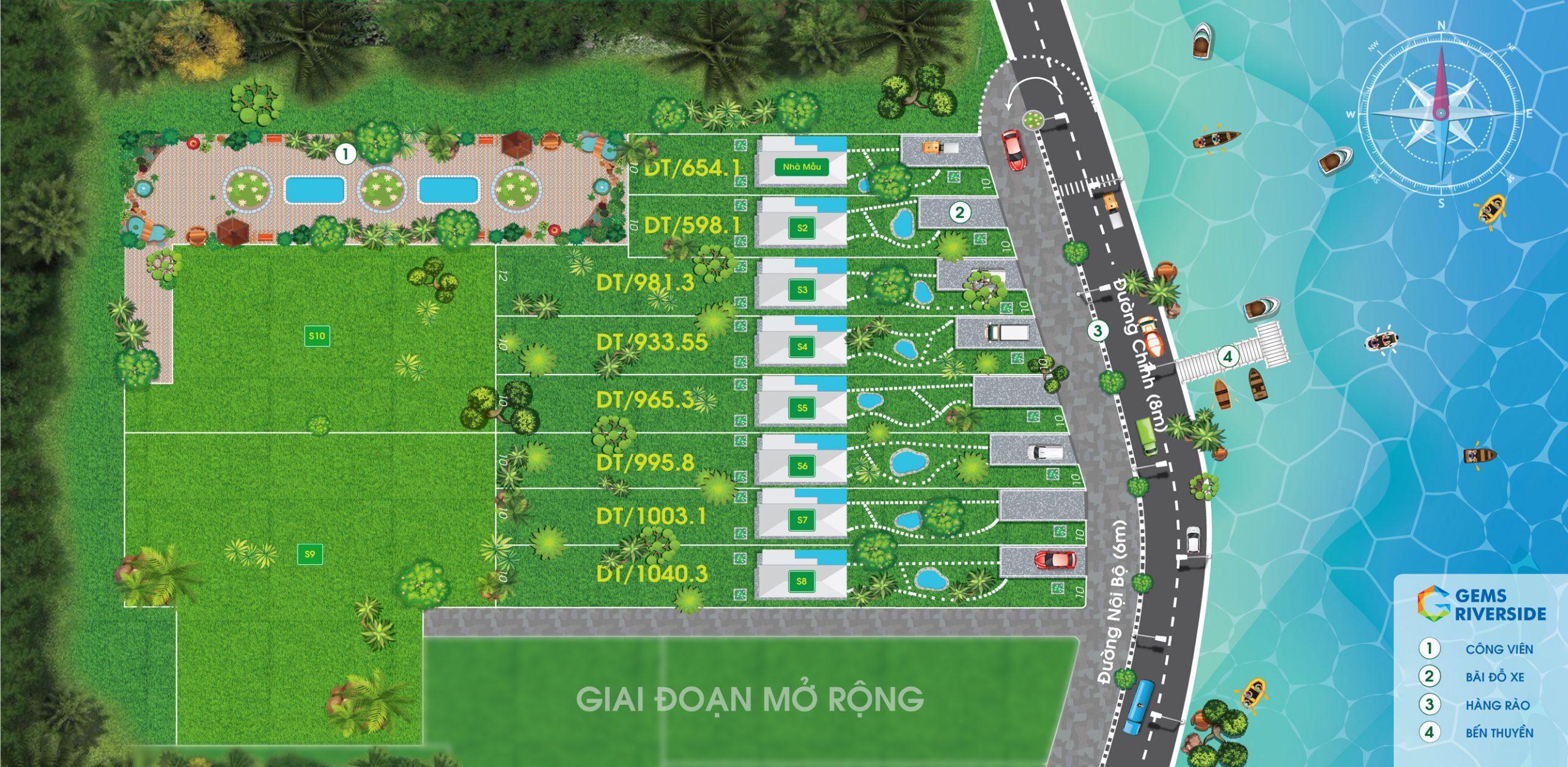 Mặt bằng dự án đất nền nghĩ dưỡng Bảo Lộc Gems Riverside Lâm Đồng