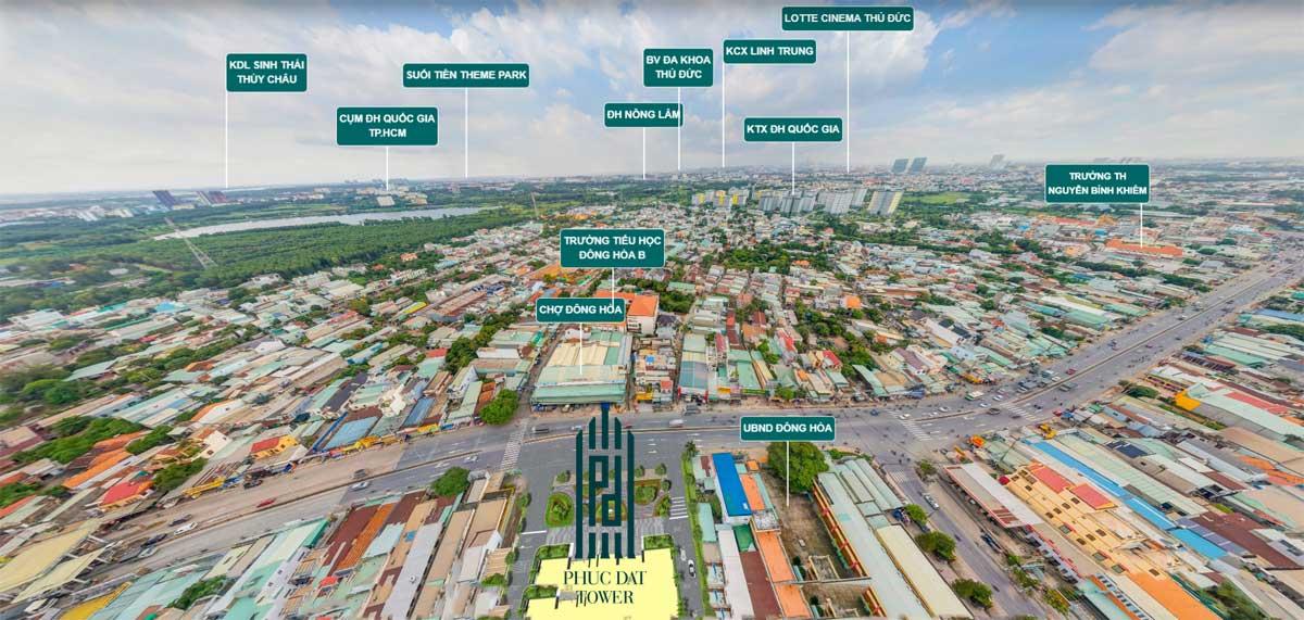Kết nối vùng dự án căn hộ chung cư Phúc Đạt Tower Đông Hòa Dĩ An Bình Dương