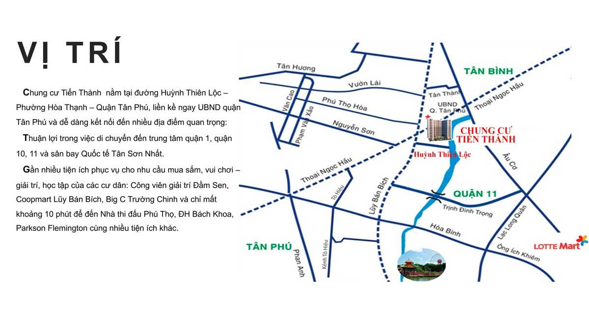 Vị trí dự án căn hộ chung cư Tiến Thành quận Tân Phú