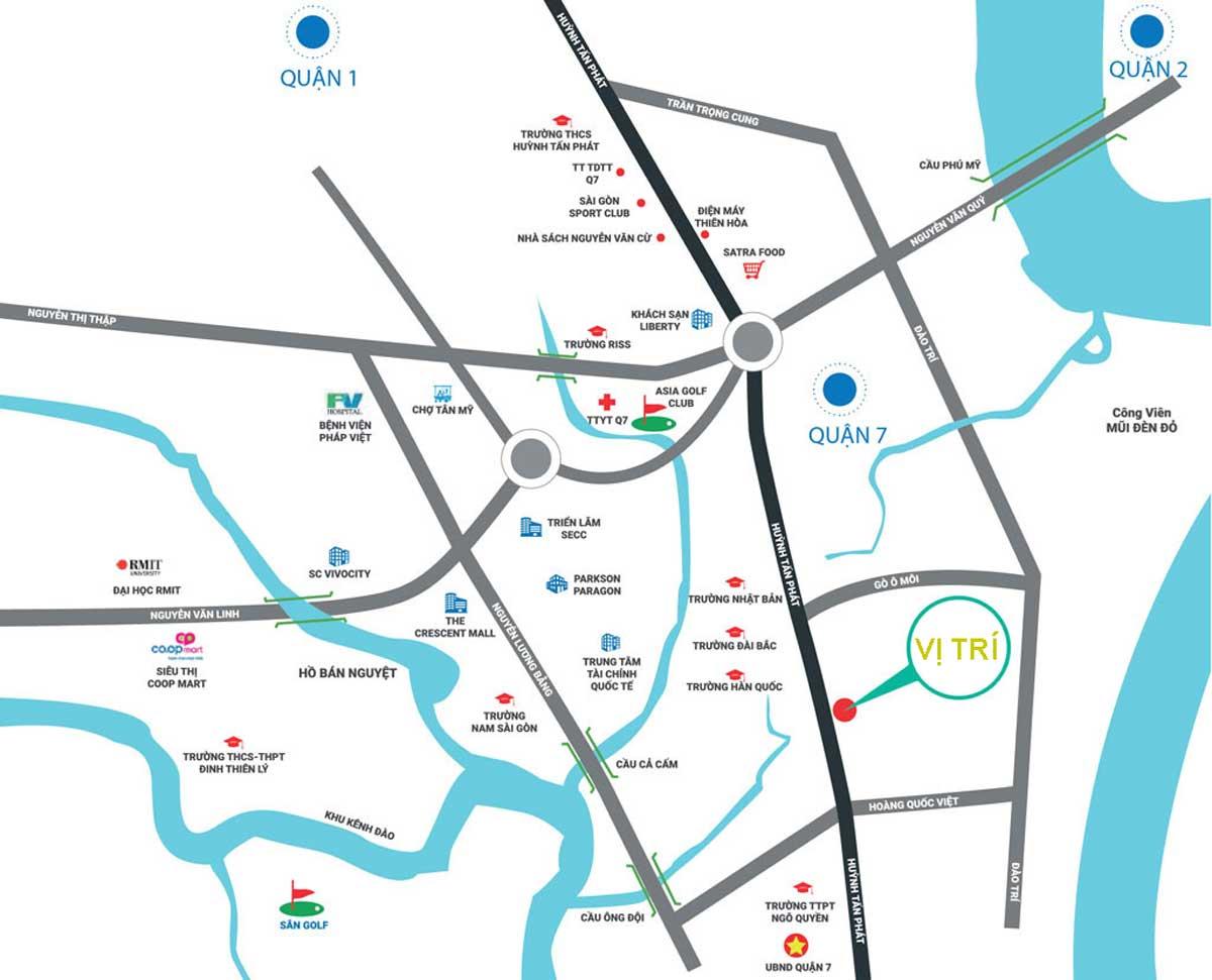 Vị trí dự án căn hộ chung cư Stella Riverside Huỳnh Tấn Phát quận 7