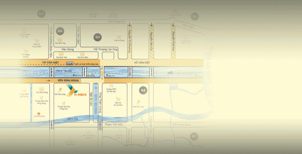 Vị trí Dự án căn hộ chung cư D - Aqua Bến Bình Đông Quận 8