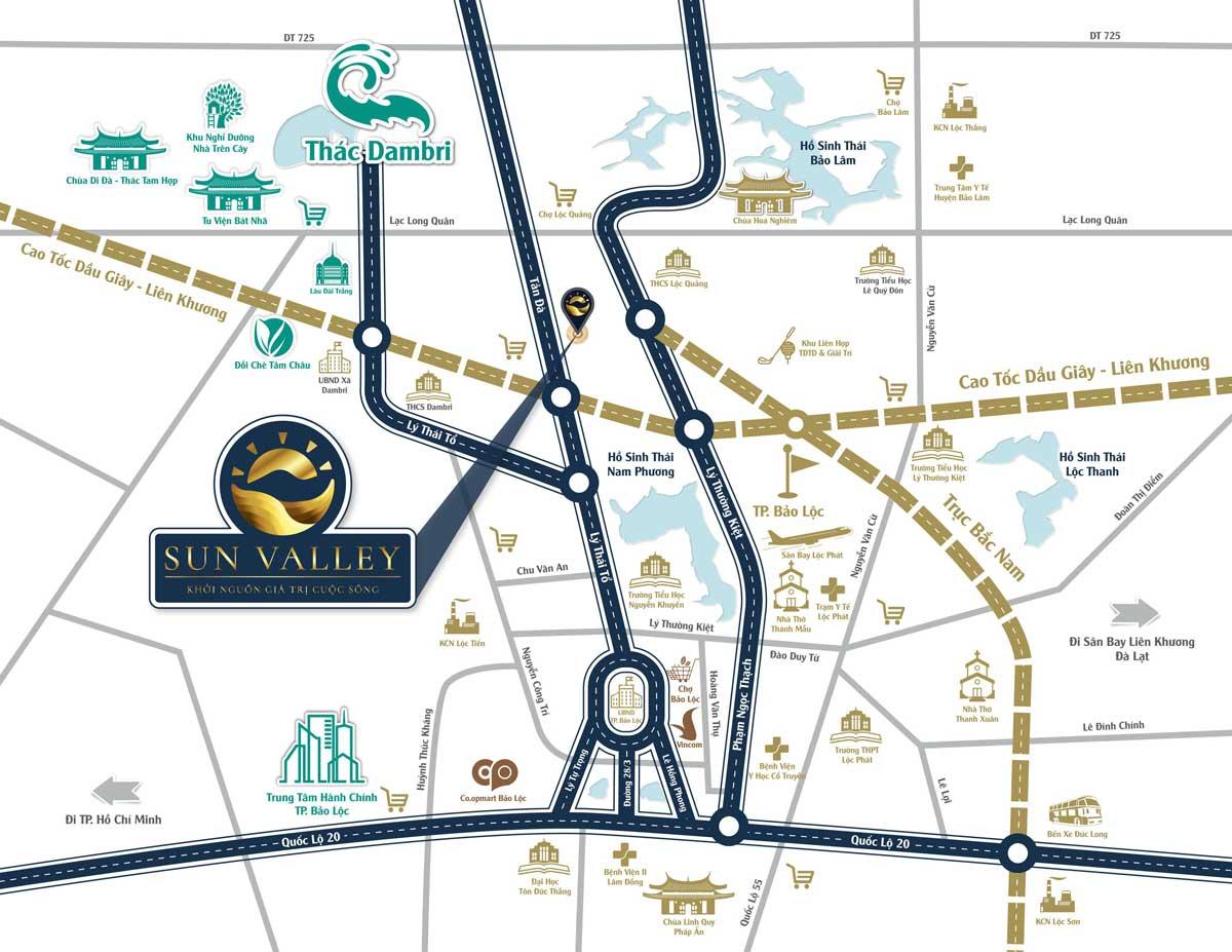 Vị trí Dự án đất nền Sun Valley Bảo Lộc, Lộc Quảng, Bảo Lâm, Lâm Đồng