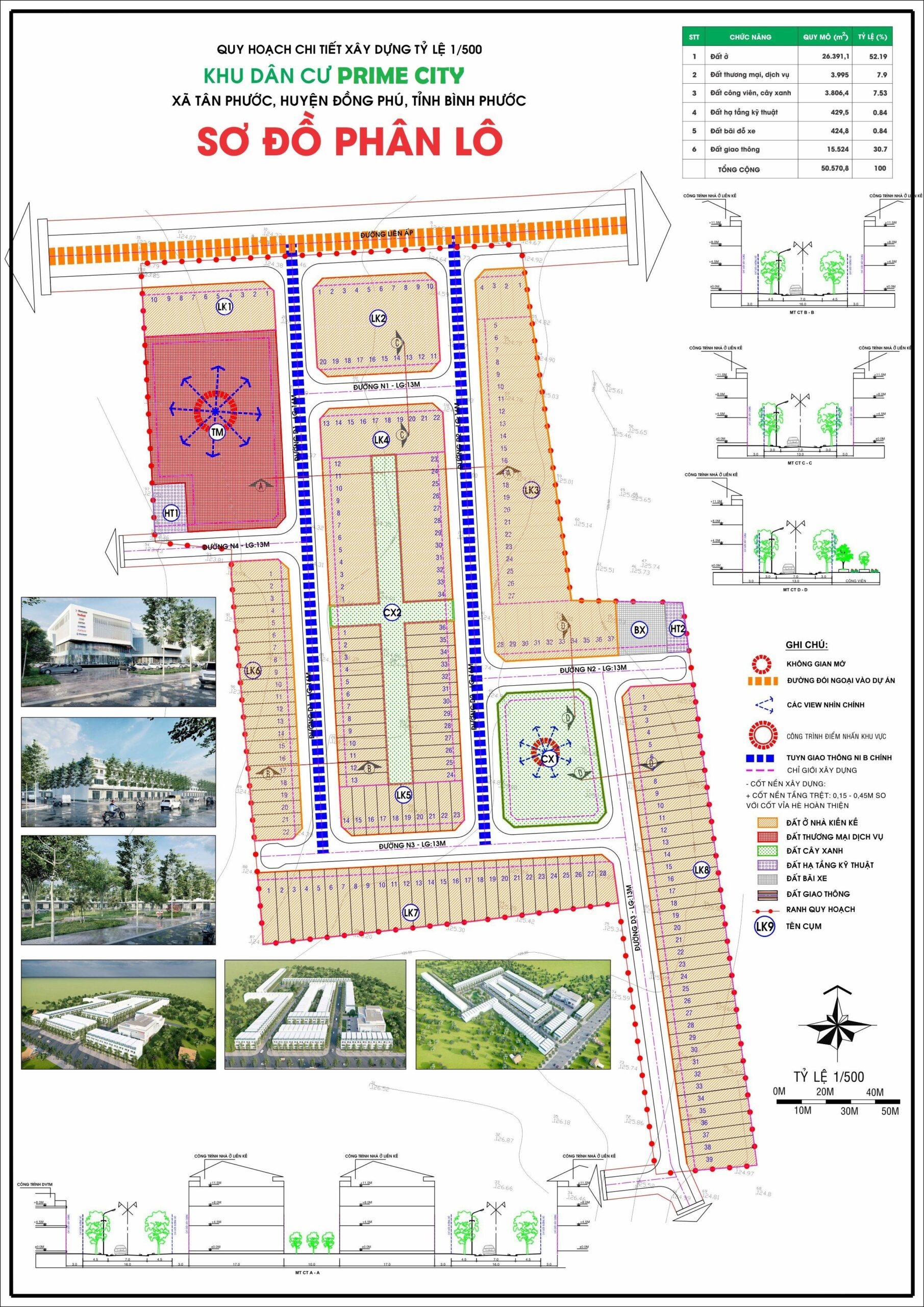 Mặt bằng Dự án đất nền khu dân cư Prime City Bình Phước, Tân Phước, Đồng Phú