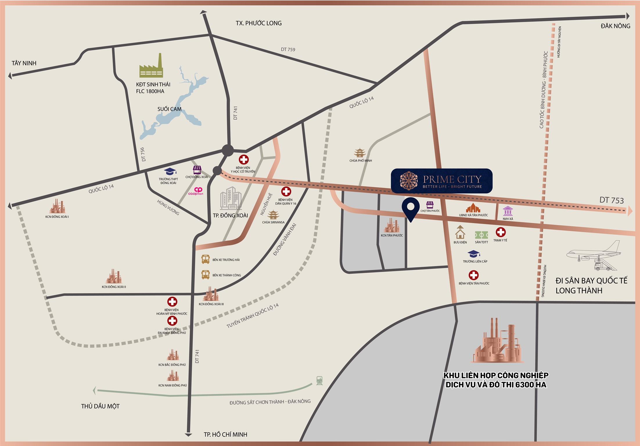 Vị trí Dự án đất nền khu dân cư Prime City Bình Phước, Tân Phước, Đồng Phú