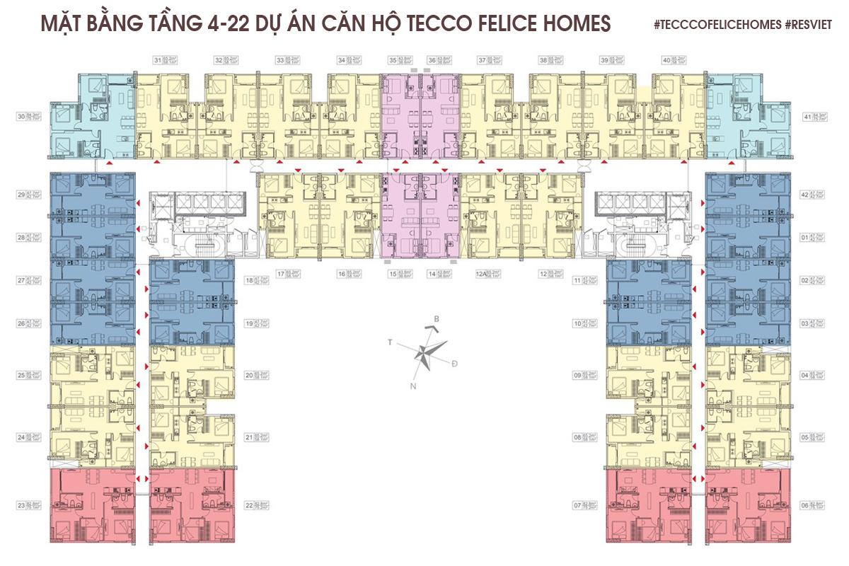 Mặt bằng tầng 4 đến tầng 22 dự án căn hộ Tecco Felice Homes