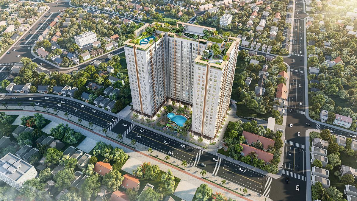 Phối cảnh dự án căn hộ Tecco Felice Homes, sở hữu góc 2 mặt tiền đường Lê Thị Trung và đường dự phóng