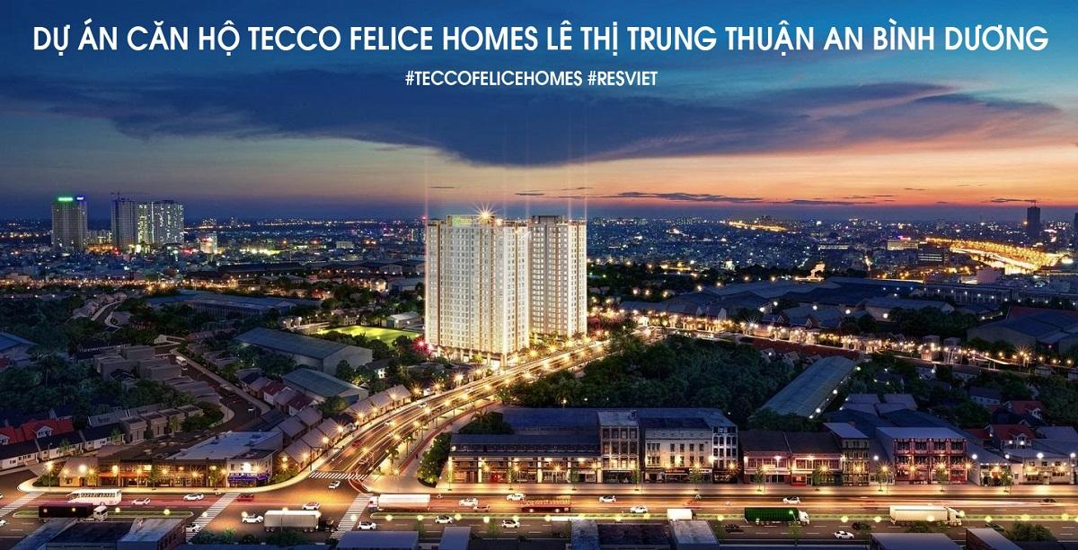 Phối cảnh dự án căn hộ Tecco Felice Homes ban đêm. Góc nhìn từ đường Mỹ Phước - Tân Vạn