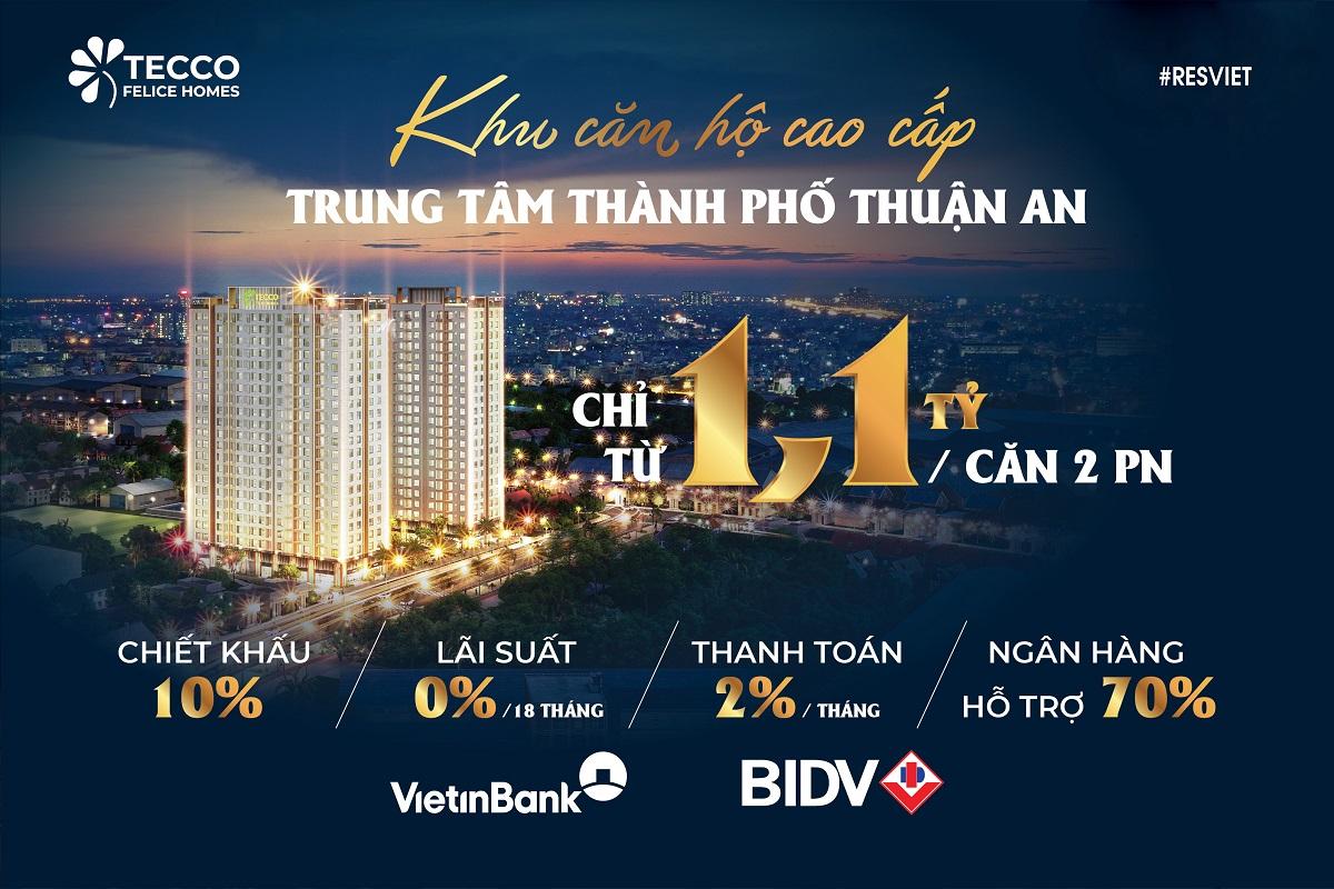 Dự án căn hộ Tecco Felice Homes - khu căn hộ cao cấp trung tâm thành phố Thuận An