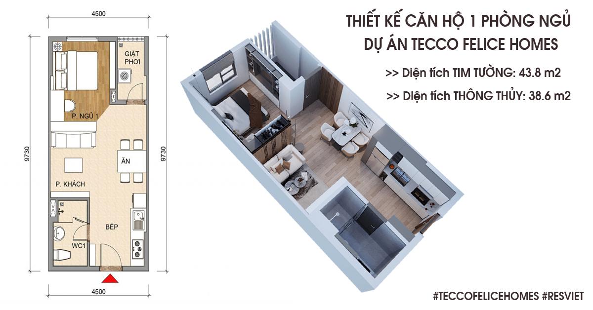 Thiết kế căn hộ 1 phòng ngủ 43m2
