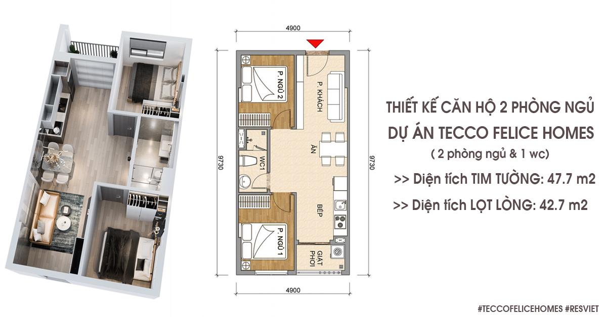 Thiết kế căn hộ 2 phòng ngủ 47m2
