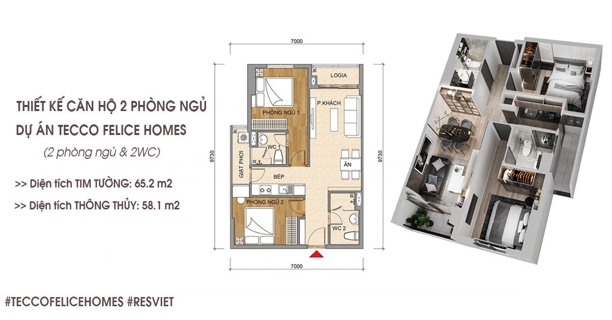 Thiết kế căn hộ 2 phòng ngủ 65m2