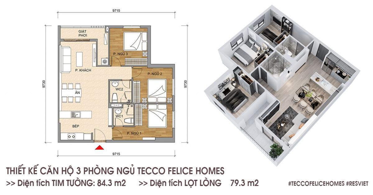 Thiết kế căn hộ 3 phòng ngủ 84,3m2