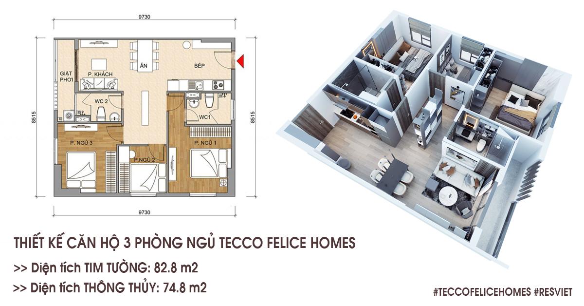 Thiết kế căn hộ 3 phòng ngủ 82,8 m2