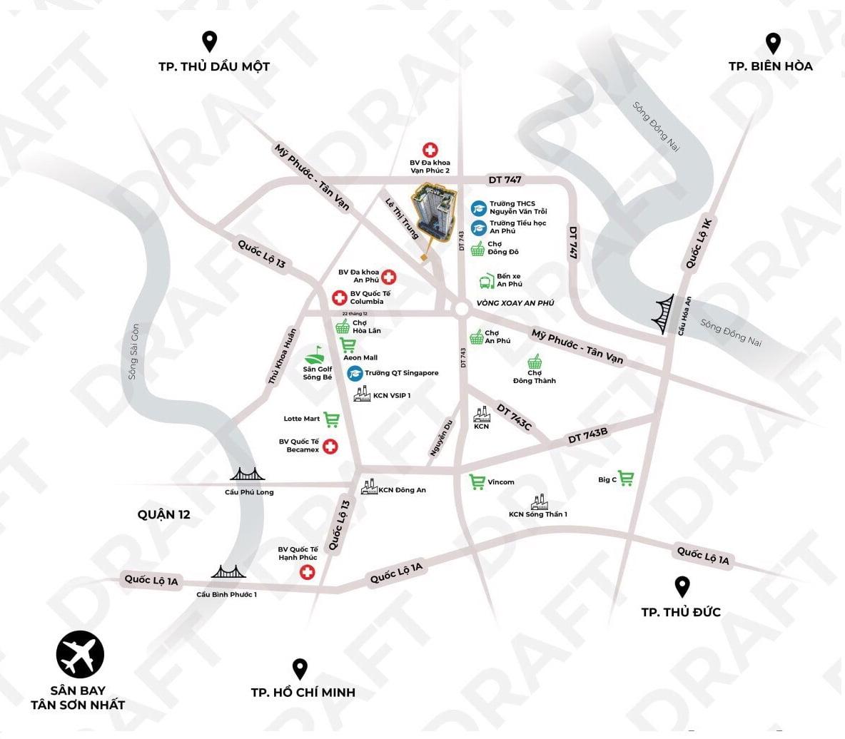 Vị trí kết nối của dự án căn hộ Tecco Felice Homes; kết nối nhanh với đường Lê Thị Trung, Mỹ Phước Tân Vạn và DT743